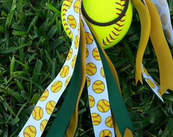 Softball bow bulls colors pony tail holder