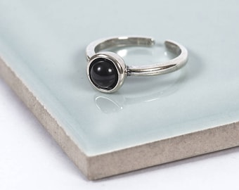 Sterling Silver Black Moon Midi Ring