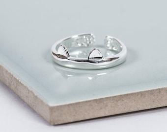 Sterling Silver Kitten Ears Midi Ring