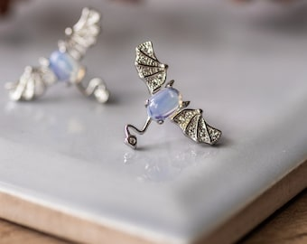 Opal Bat Silver Earrings