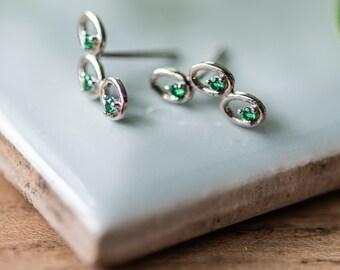 Sterling Silver Emerald Green Earrings