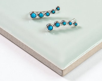 Opal Climber Silver Earrings