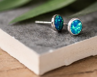 Oceans Blue Opal Earrings
