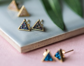 Druzy Triangle Gold Stud Earrings