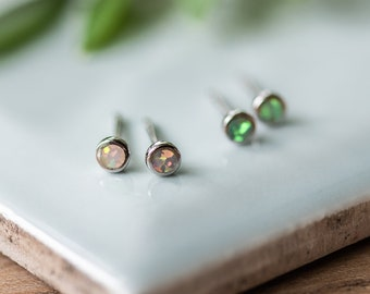 Opal Silver Earrings