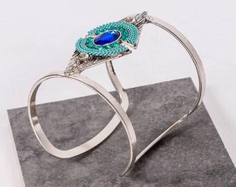 Boho Deep Blue Sea Silver Cuff