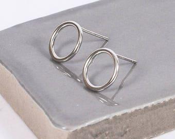 Sterling Silver Eclipse Stud Earrings