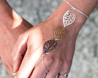 Silver Leaf Festival Hand Chain