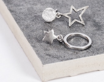 Star and Full Moon Silver Earrings