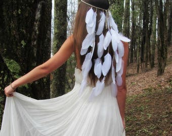 White Boho Festival Feather Headpiece