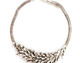 Silver Leaf Ladies Statement Necklace