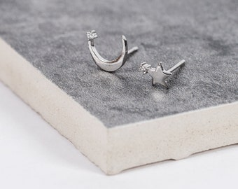 Nights Sky Silver Stud Earrings