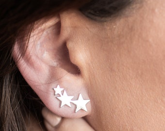 Sterling Silver Shooting Star Ear Climber Earrings