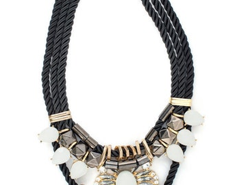 White Egyptian Tear Drop Statement Necklace
