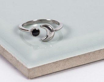 Sterling Silver Dark Moon Midi Ring