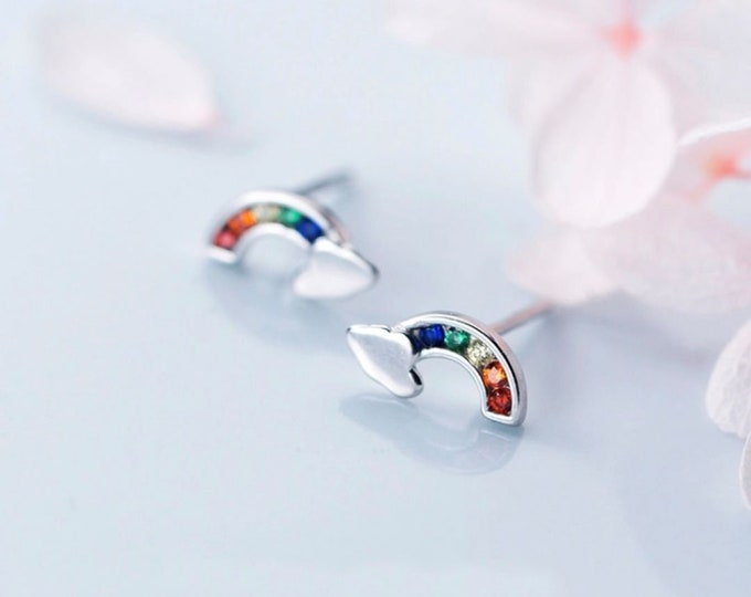 Featured listing image: Sterling Silver Rainbow Earrings