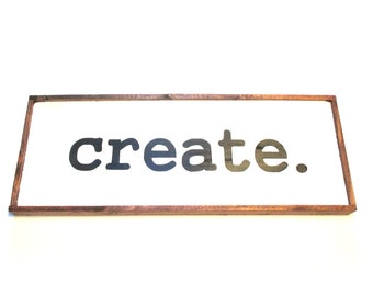 Gift for crafter, sewer, knitter, crocheter.  Ready to ship rustic wooden farmhouse style sign.  CREATE.  Crafty gift.