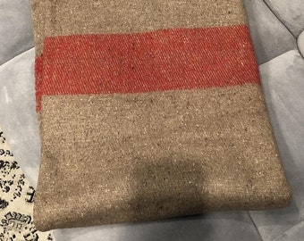 Vintage Swiss Army Issue 100% Wool Blanket 88x61 Inches Perfect Condition! Brown & Red Stripes.