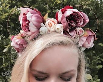 Beautiful Purple Peony Disney Floral Wire Mickey Mouse Ear Headband Handcrafted