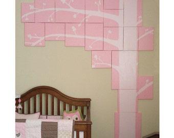 Custom tree painting, Canvas puzzle, Any color, Living room tree, Bedroom art, Nursery tree art., Acrylic painting, Mixed media tree