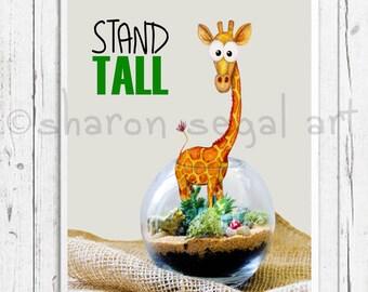Stand Tall. Giraffe print.  Zoo animals. Whimsical giraffe.  Kids decor.  Nursery decor. Cartoon giraffe.