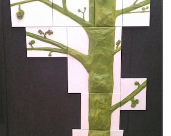 Custom Going Green 3D paper mache tree, Canvas puzzle, Paper mache, Paper mache tree, Living room tree, Nursery tree art., Mixed media tree
