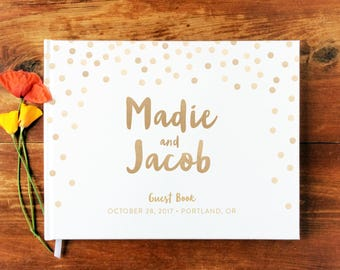 Wedding Guest Book Landscape #8 - Hardcover - Wedding Guestbook Wedding Guest Books, Custom Guest Book, Guestbooks, Decor - Polka Dot