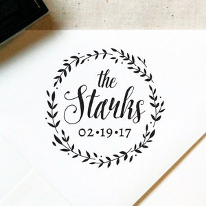 Calligraphy Wreath Monogram Stamp #28 Wedding Favor Wooden or Self-Inking Favor Stamp \u2014 INCLUDES HANDLE Personalized Wedding Stamp