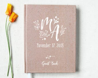 Wedding Guest Book #67 - Hardcover - Wedding Guestbook Wedding Guest Books Custom Guest Book Personalized Guestbooks - Rustic - Kraft Paper