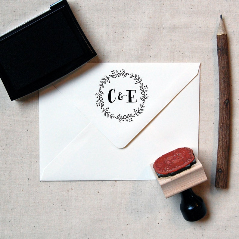Calligraphy Initial Stamp \u2014 INCLUDES HANDLE Wooden or Self-Inking Wreath Monogram Stamp #14 Favor Stamp Personalized Wedding Stamp