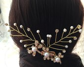 Wedding Hair Accessories -Dragonfly Rhinestones Brooch With Gold Tone Rhinestones And Ivory Pearls Hair Comb #1106