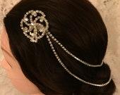 Wedding HairChain,Wedding HairJewelry Bridal Hairpiece WeddingHeadpiece Silver Rhinestone Hair Accessories Crystal Hair Comb Hair Pins #1206