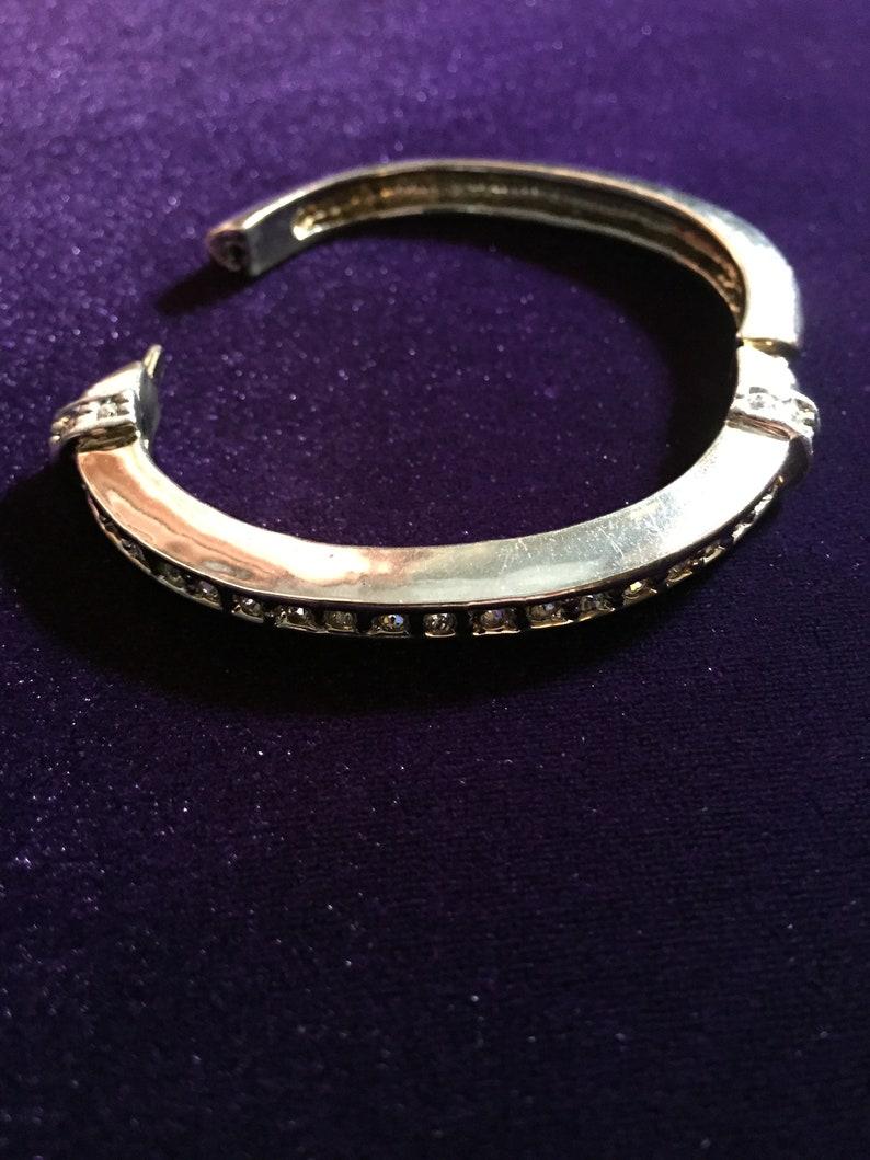 Vintage Silver Rhinestone Bangle Bracelet Open Hinged Bracelet,ArtDeco Bracelet #686 Woman Bracelet