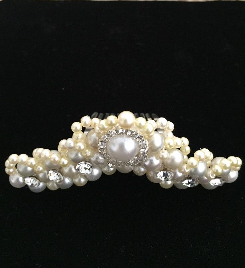 Bridal Rhinestones and Ivory Ligth Gray Pearl Tiara Comb #1016 Brides Tiara
