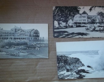 Ogunquit Maine 5 Postcards Harbor Sparhawk Hall Riverside Hotel Black and White Brush and Needle Studio