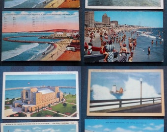 Long Beach CA 8 Postcards Fishing Beach Rainbow Pier