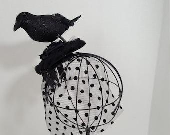 Halloween Crow Fascinator, Glitter Blackbird Headband, Halloween Headband, Witch Costume Accessory, Veiled  Headband, Photo Prop