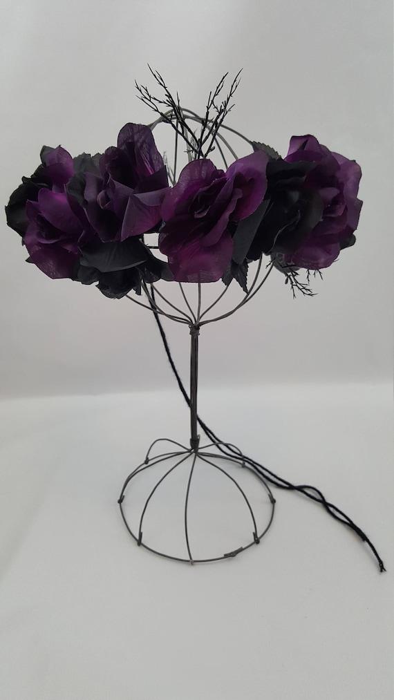 Halloween Flower Crown Black Rose Crown Black Crown Purple  8ea8f5a62d0