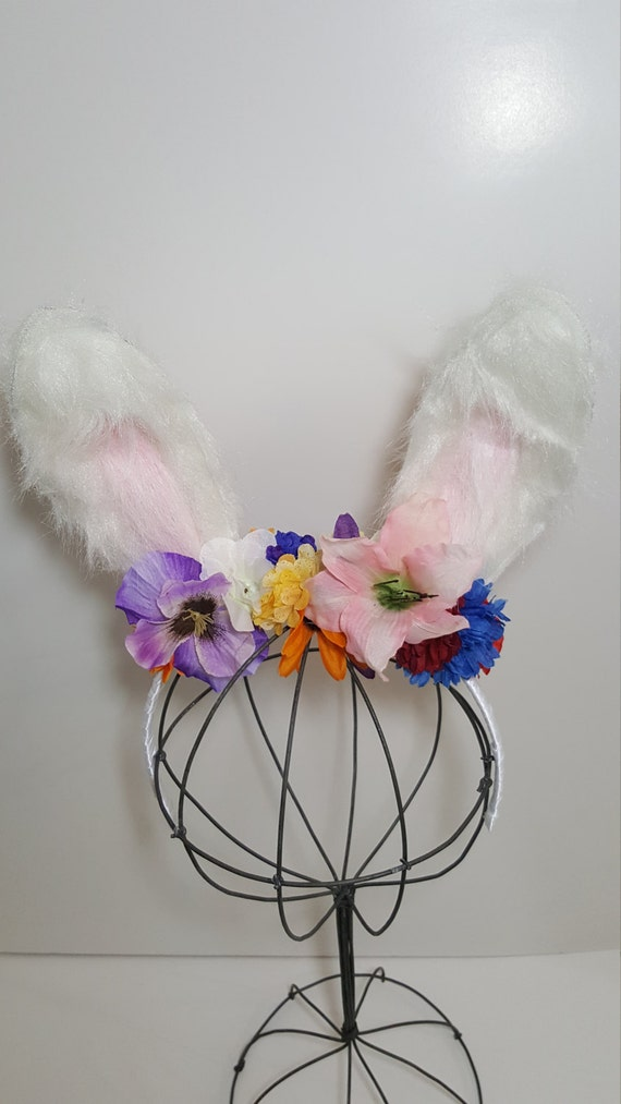 Pelzigen Hasenohren Plain geblümt oder Hut Ohren weiße | Etsy
