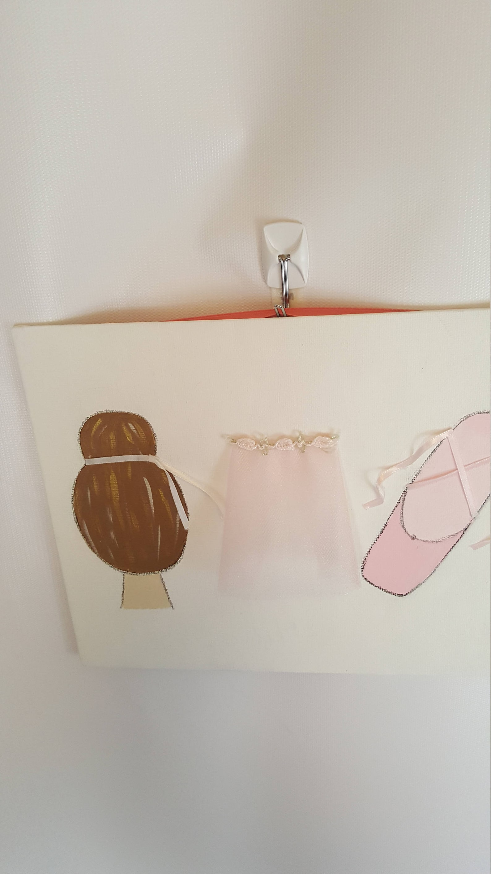 bun, tutu and shoes painting, ballet bun, tiny tutu, pointe shoes, ballet painting, ballerina painting, nursery painting, dance