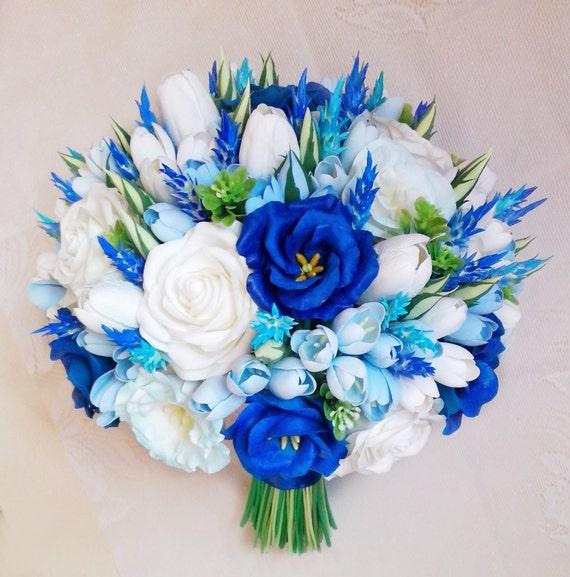 Freesie Eustoma Tulpe Rose Lavendel Brautstrauss Blaue Und Etsy