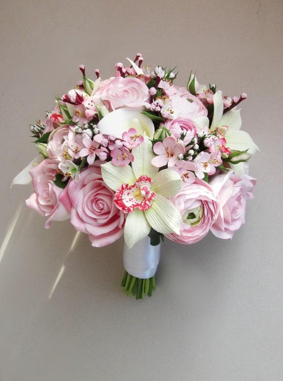 Cherry Blossom Bouquet And Boutonniere Sakura Bouquet Bridal Etsy