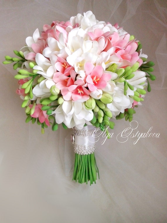 White pink freesia bouquet with boutonniere clay wedding etsy image 0 mightylinksfo