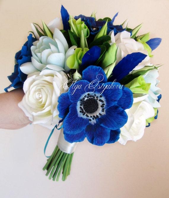 Bouquet Sposa Blu.Royal Blue Anemones Bouquet Blue Wedding Bouquet Bridal Etsy