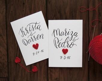 Personalized wedding card, Custom wedding congratulations, Bride Groom card, crochet heart