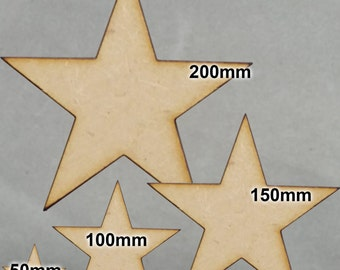 5 Point Star MDF Shapes - 3mm Lasercut - 4 Sizes Available
