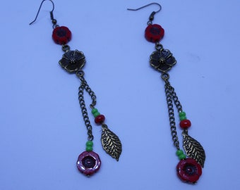Poppy earrings and bronze