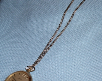 "Austria Satellite Pocket Watch 22"" Gold-tone Chain Necklace Austrian Vintage"