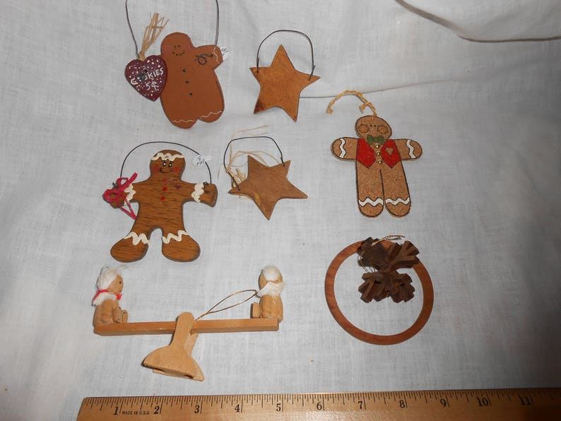7 Wood Gingerbread Star Christmas Tree Ornament Lot Wooden Seesaw Snowflake