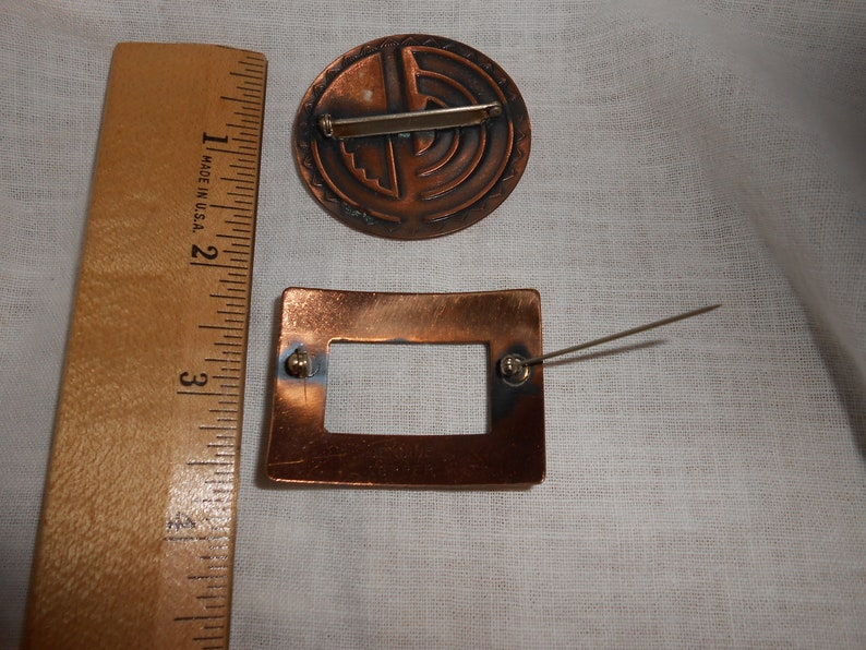 2 Vintage Copper Pins Brooch Lot Costume Jewelry FREE SHIPPING